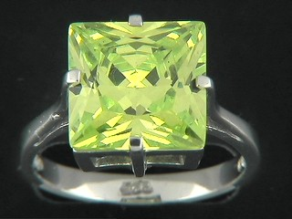 Large Square Peridot Cubic Ring